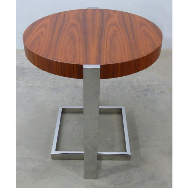 Contemporary La Spada & Mazza for Medea, Side Table in Palisander Wood and Chrome Italy For Sale - Image 3 of 9