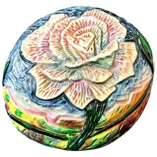 Contemporary Eddie Dominguez Ceramic Hand-Carved Floral Art Sculpture For Sale