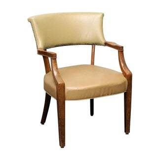 Transitional Studded Vinyl Tan Side Chair For Sale