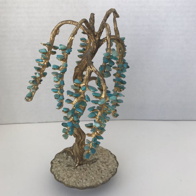 Turquoise & Brass Jewel Tree Figurine - Image 8 of 10