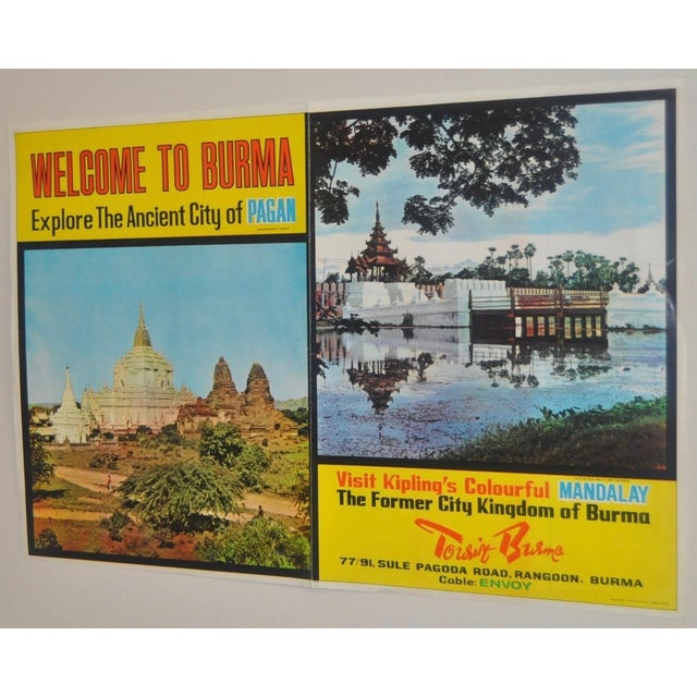 Vintage BURMA Travel Poster c.1960 For Sale - Image 4 of 9