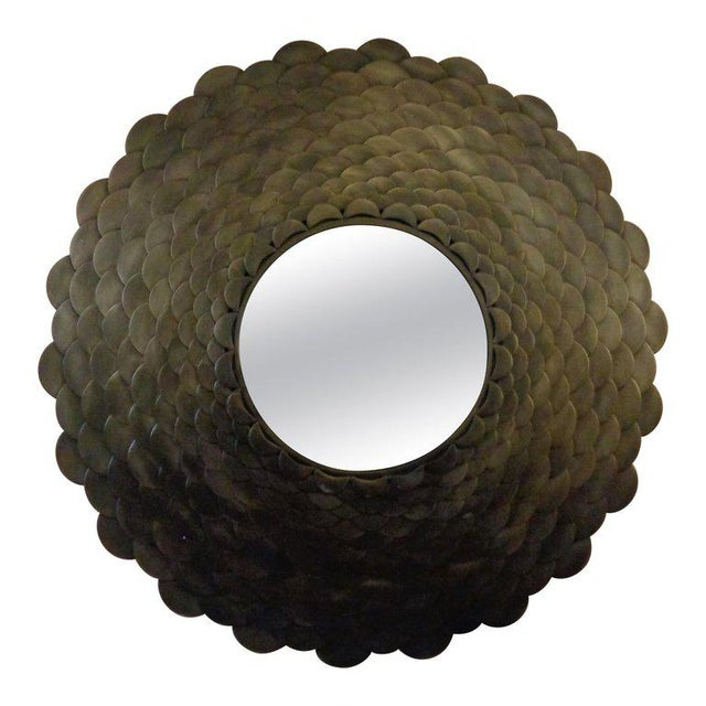 Palatial Modernist Steel Fish Scale Convex Wall or Console Mirror For Sale - Image 10 of 10