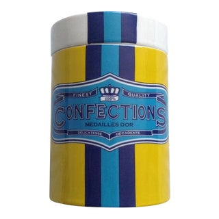 "1990s Boho Chic Jonathan Adler ""Confections"" Ceramic Canister For Sale"