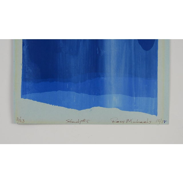 Abstract Study in Blue Abstract Serigraph For Sale - Image 3 of 5