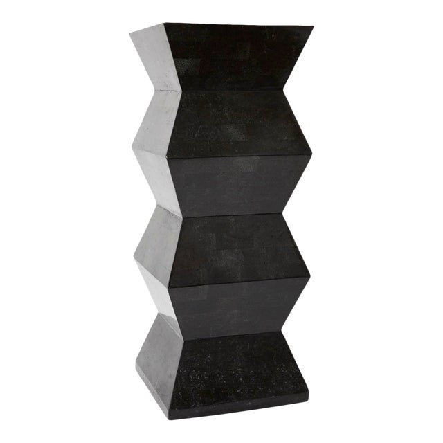 1990s Vintage Oversized Postmodern Tessellated Black Stone Accordion Pedestal For Sale