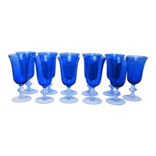 Vintage Royal Blue Wine Glasses - Set of 11