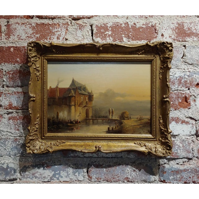 """19th Century Dutch """"Soldiers Entering a Castle"""" Oil Painting by Petrus Gerardus Vertin For Sale - Image 9 of 9"""