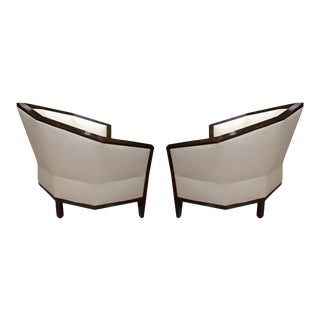 Pierre Chareau Pair of Modernist Makassar Lounge Chairs For Sale