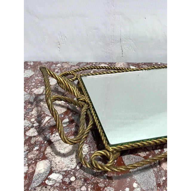 1960s Italian Gilt Rope Motif Plateau or Vanity Tray For Sale - Image 5 of 7