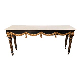 Black & Gold Louis XVI Style Console Table by Charles Pollock for William Switzer For Sale