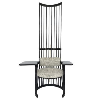"Dramatic 79"" High Back Black Lacquered Spindle Writing Chair For Sale"