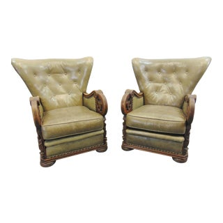 Early 20th Century Gothic Carved Oak Leather Wingback Club Chairs-a Pair For Sale