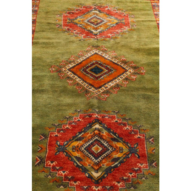 Textile Vintage Moroccan Tribal Green and Orange Rug For Sale - Image 7 of 9
