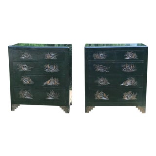 Antique Handmade Handcarved Chinese Wood Chest of Drawers A Pair