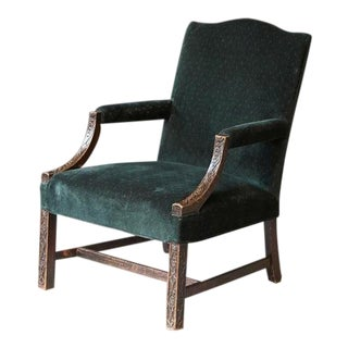 George III Carved Mahogany Marlborough Armchair For Sale