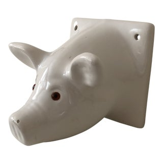 20th Century Country Ceramic Pig Towel Hook For Sale