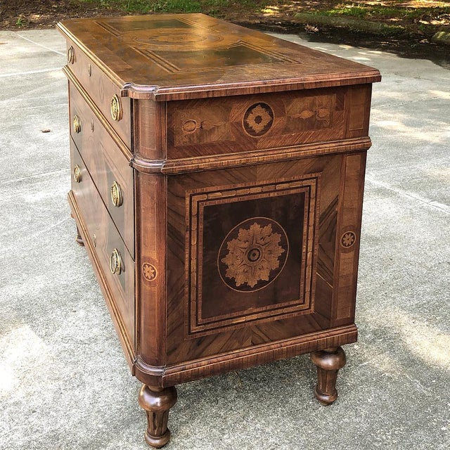 Metal Antique Italian Marquetry Commode For Sale - Image 7 of 13