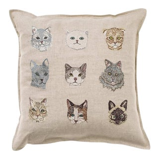 "Contemporary Embroidered Cats Pillow Cover - 16"" x 16"" For Sale"