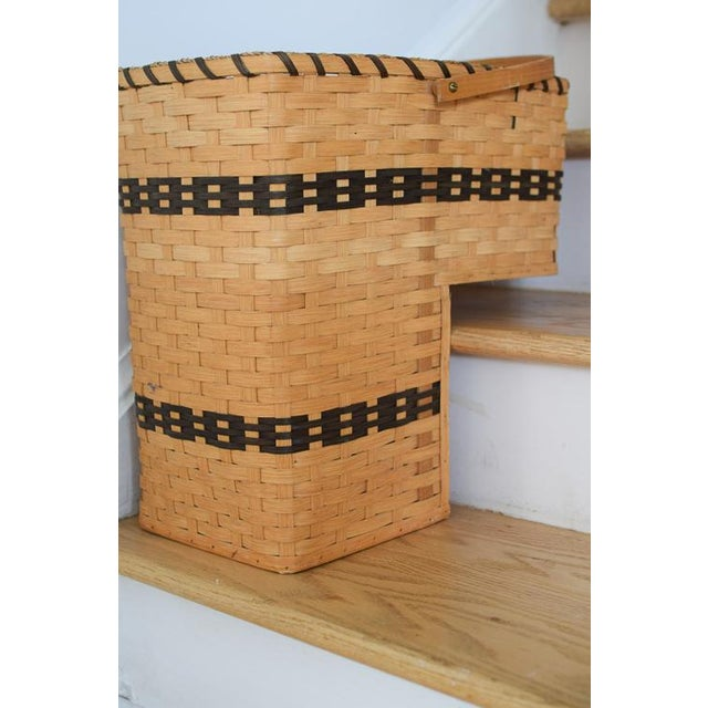 Americana 20th Century Country Amish Stair Step Basket For Sale - Image 3 of 11