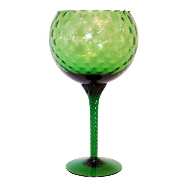 Vintage Emerald Green Empoli Stemmed Vessel For Sale