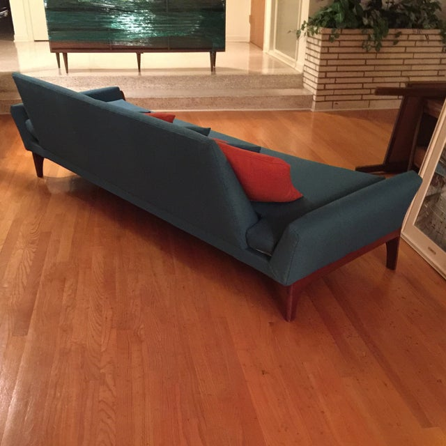 Reupholstered Danish Modern Wing Arm Sofa - Image 6 of 10