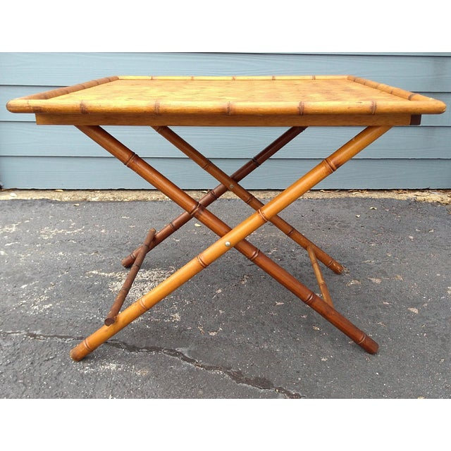 Fabric Folding Bamboo Table & Chinoiserie Chairs - Set of 3 For Sale - Image 7 of 11