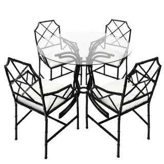 Chinese Chippendale Black Style Metal Bamboo Dining Set For Sale