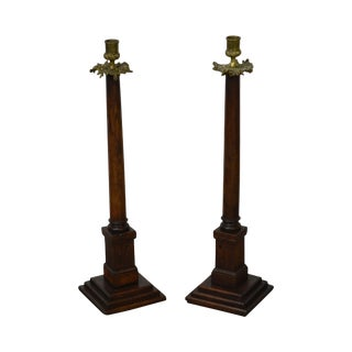 Antique Oak & Bronze French Empire Candlesticks - A Pair For Sale