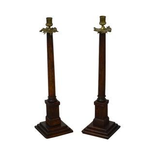 Antique Oak & Bronze French Empire Candlesticks - A Pair