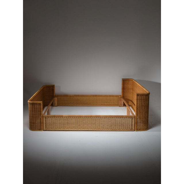 Wicker Double Bed Wicker Frame by Adalberto Dal Lago for Germa For Sale - Image 7 of 7