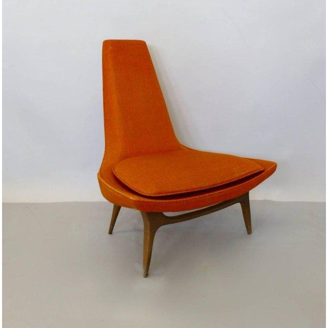 Long term stored Karpen high back sculptural form lounge chair. Recently brought in by the original owner. Foam is...