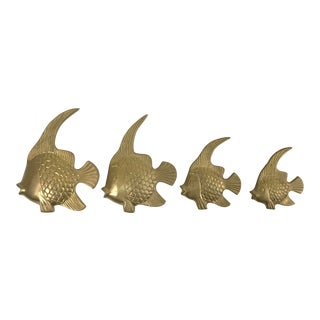 Vintage Brass Angel Fish Wall Decor Figurines - Set of 4 For Sale