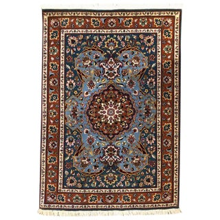 Authentic Persian Hand Knotted Floral Medallion Tabriz Rug For Sale