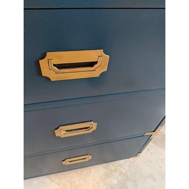 1970s 1970s Campaign Dixie Blue Gloss Desk For Sale - Image 5 of 10
