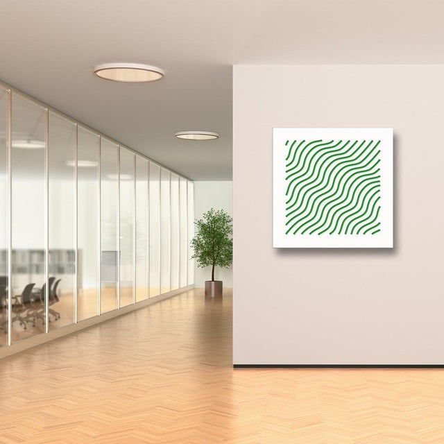 Artist: Chuck Krause (1949) Title: Waves (Green) Year: 2020 Medium: Sculpted composite board mounted to colored substrate...