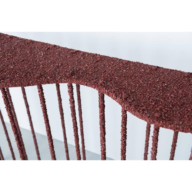 Hand Made Console of Crushed Red Jasper From India, by Samuel Amoia For Sale - Image 4 of 10