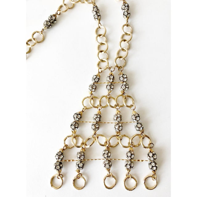 1960s Gold Toned Aluminum Rhinestone Statement Necklace For Sale - Image 4 of 5