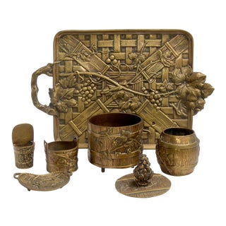 Art Nouveau Bronze Smokers Set, French Tobacciana For Sale