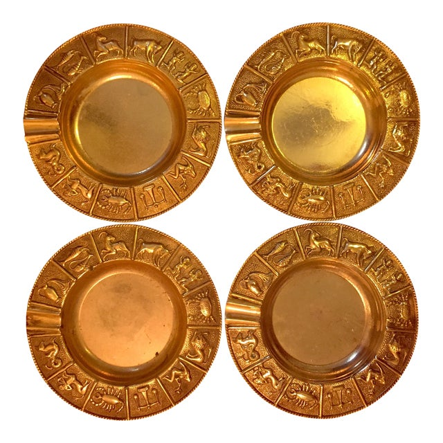 Brass Zodiac Ashtrays- Set of 4 For Sale