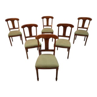 Set of 6 French Mid 20th-Century Neoclassical Style Olive Green Dining Chairs For Sale