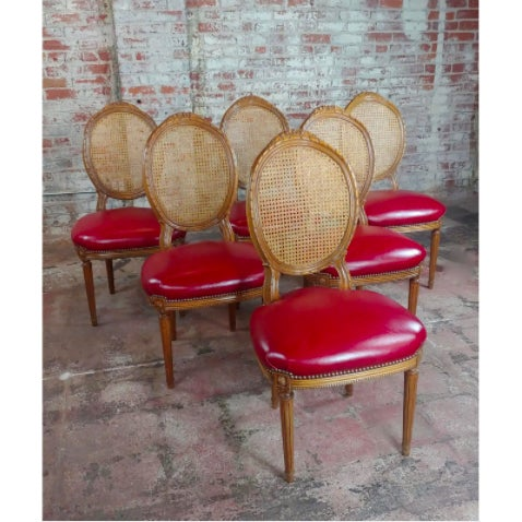 Wood Louis XVI Seat Dining Chairs - Set of 8 For Sale - Image 7 of 10