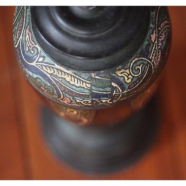 Vintage Cloisonne Lamps - Pair - Image 5 of 8
