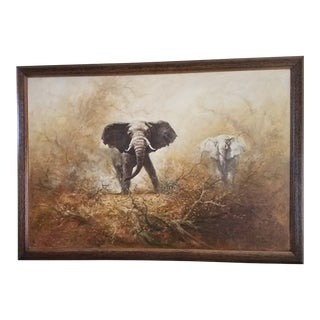 """1970s Vintage , Original Oil on Canvas Elephants Painting Signed by Artist """"Rex"""" For Sale"""