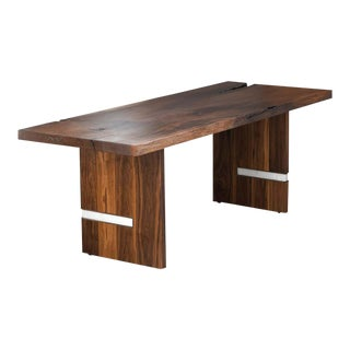 Modern Walnut Slab Dining Table in Alabaster and Patina Brass by Ordinal Indicator For Sale