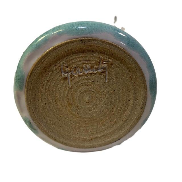 Mat Crystalline Studio Pottery Bud Vase Cyan Signed For Sale - Image 4 of 5