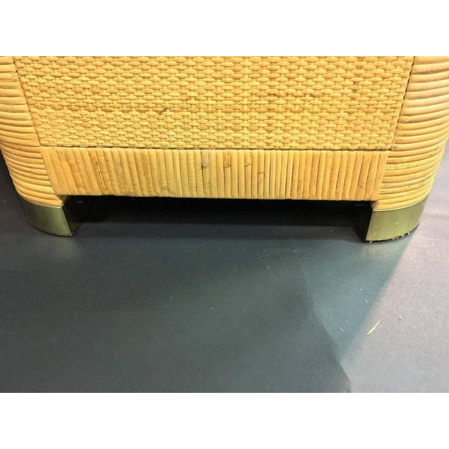 Brass Modern Pair of Rattan & Wicker Brass Accented Etageres For Sale - Image 7 of 10