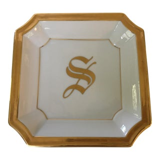 "White Monogrammed Gilded Edge Old English Script ""S"" Tray"