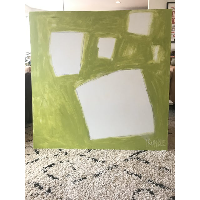 """Sarah Trundle Sarah Trundle """"Let Me Count the Ways: Shapes in Chartreuse"""" Original Abstract Painting For Sale - Image 4 of 7"""