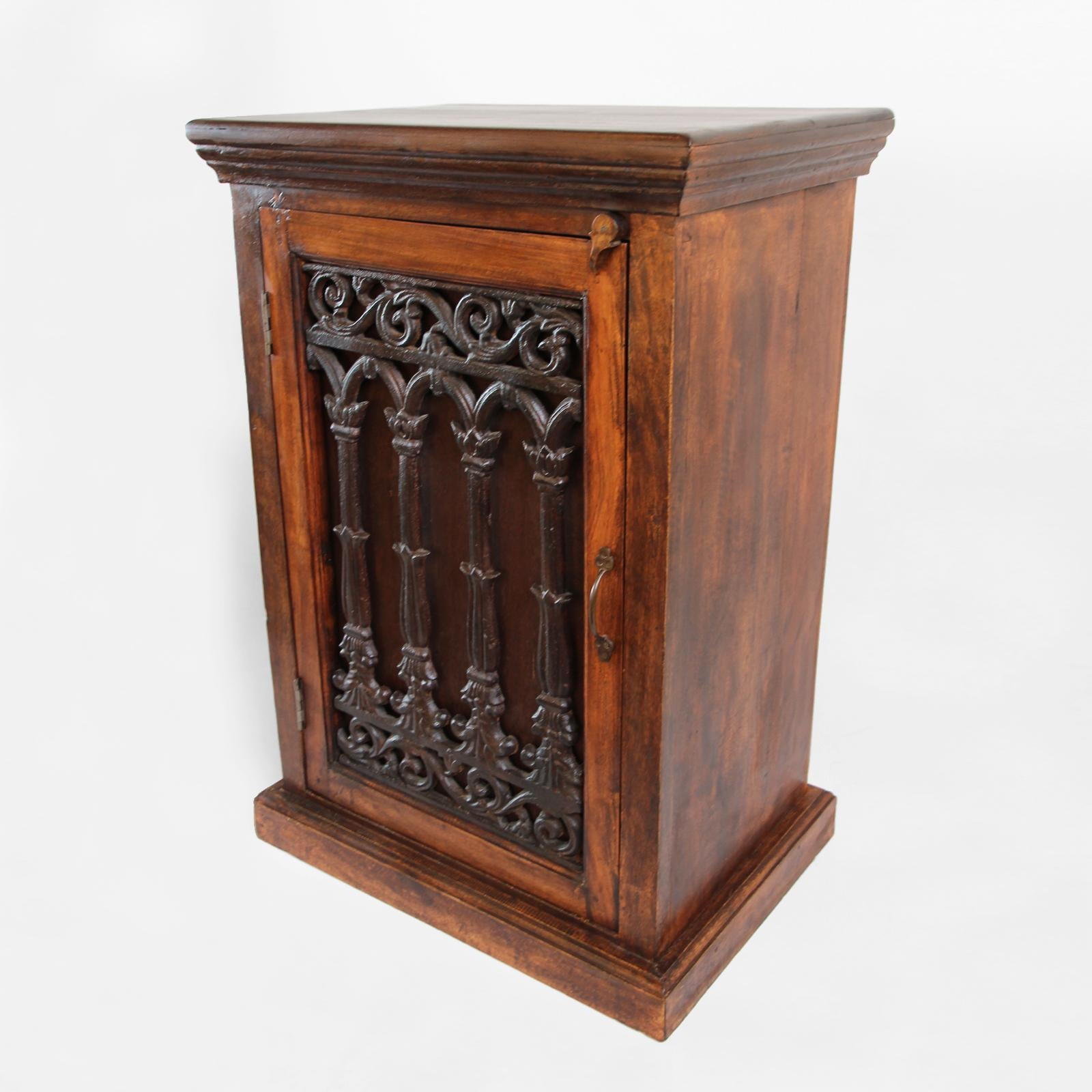 Dark Stained Mango Wood Bedside Cabinet With Vintage Cast Iron Doors. Two  Storage Shelves Are