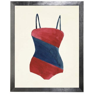 """Red Bathing Suit With Blue Diagonal Middle Stripe Watercolor Print - 15"""" X 19"""""""